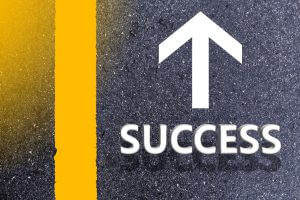 Road of successful concept. road and sunlight and sign which symbol success.