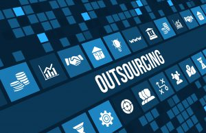 Outsourcing concept image with business icons and copyspace.For more variation of this image please visit my portfolio