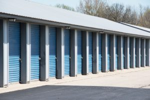 Blue doors of self-storage garage.