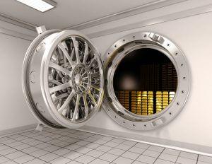 Big safe with gold ingots. 3D image.