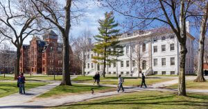 Cambridge, MA, United States - April 9, 2016: Harvard University campus in spring in Cambridge, MA, United States on April 9, 2016.