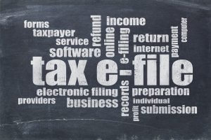 tax e-file (electronic filing) concept - a word cloud on a vintage slate blackboard