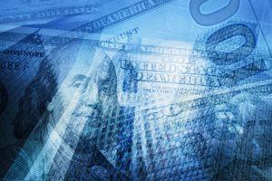 Money, finance, business concept background. USD dollar bills, skyscrapers.