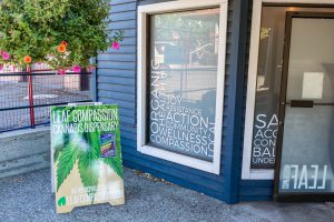 Salt Spring Island: The entrance of the Salt Spring Compassion cannabis dispensary in Salt Spring Island.