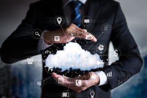 concept of big data and cloud computing: real cloud and technology devices illustration