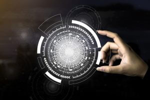Future technology concept. Closeup hand touching bright technology icons with dark blurred background. Picture for add text message. Backdrop for design art work.